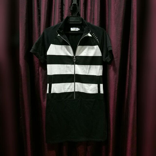 ELLE Black N White Stripes Casual Dress