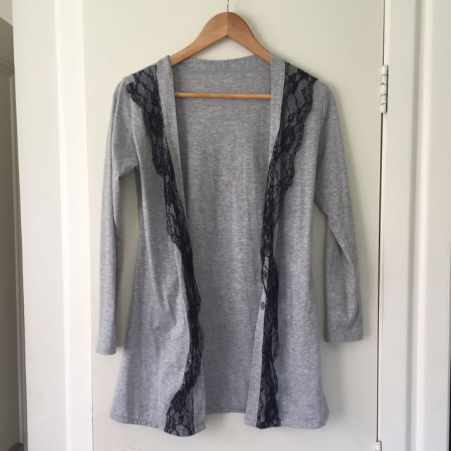 Grey Cardigan With Lace