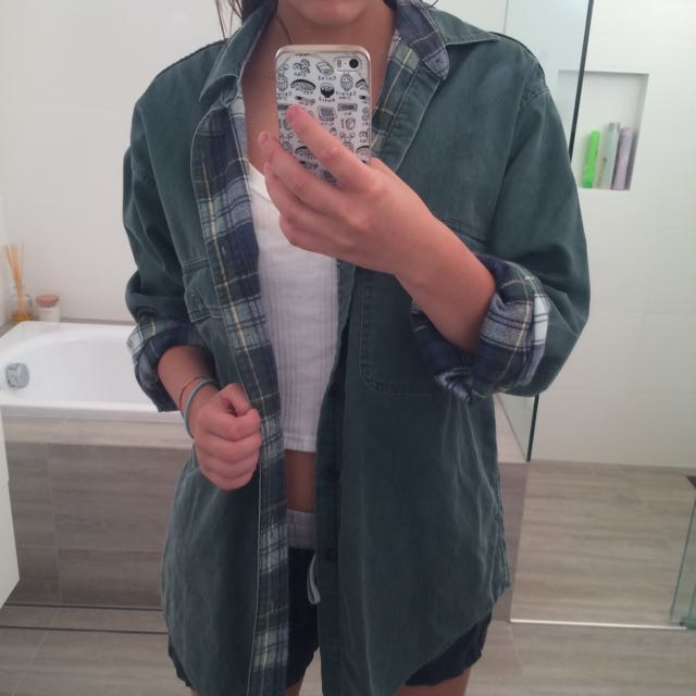 Khaki/ Tartan Inside Oversized Jacket