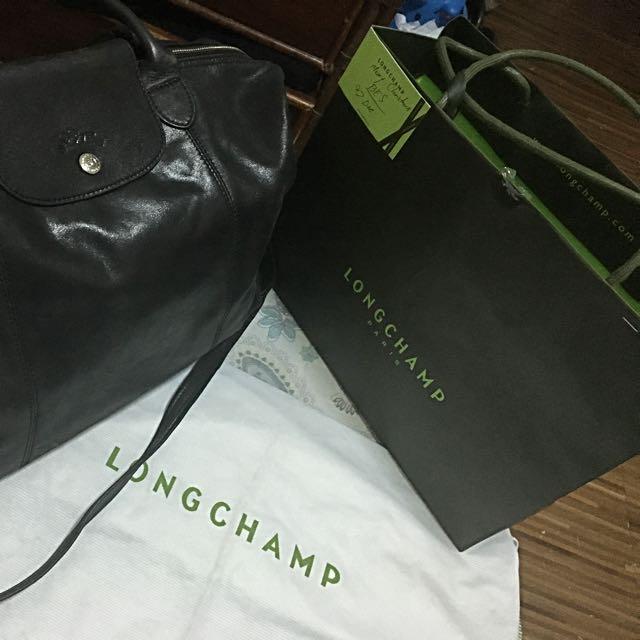 "Longchamp ""Le Pliage Cuir' Leather Handbag"