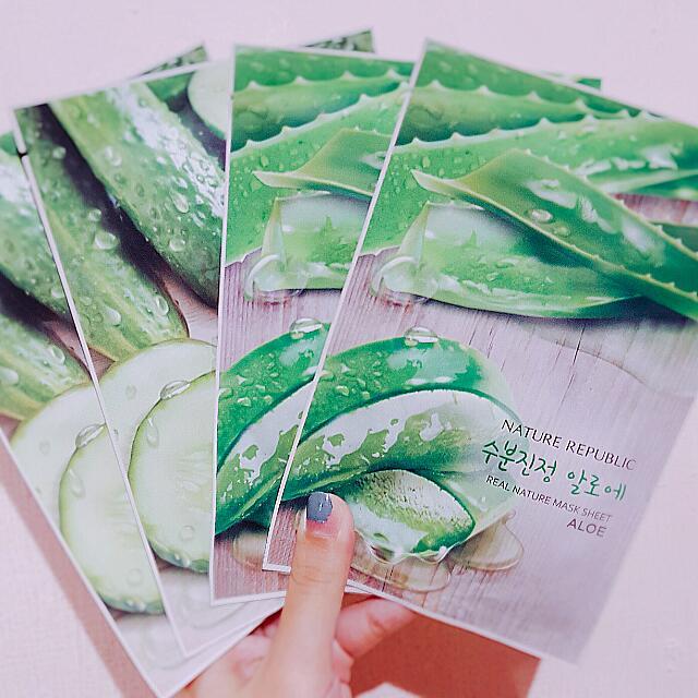 降~4片🌷韓國 nature republic 蘆薈、小黃瓜面膜