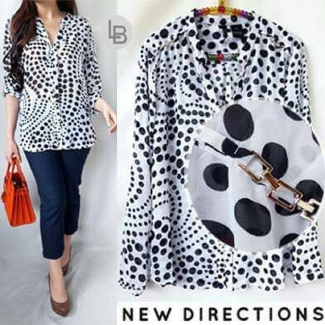 NewD Polkadot Blouse sifone halus- (ada plat gold dipundak mewah) baguss - S94 M102 XL112 Pj67cm Ecer @94rb grosir @77rb ONLY recomended-