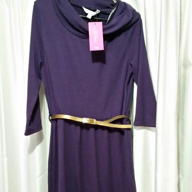 Plum Purple Cowl Neck Jumper Dress With Belt - Size M / 12