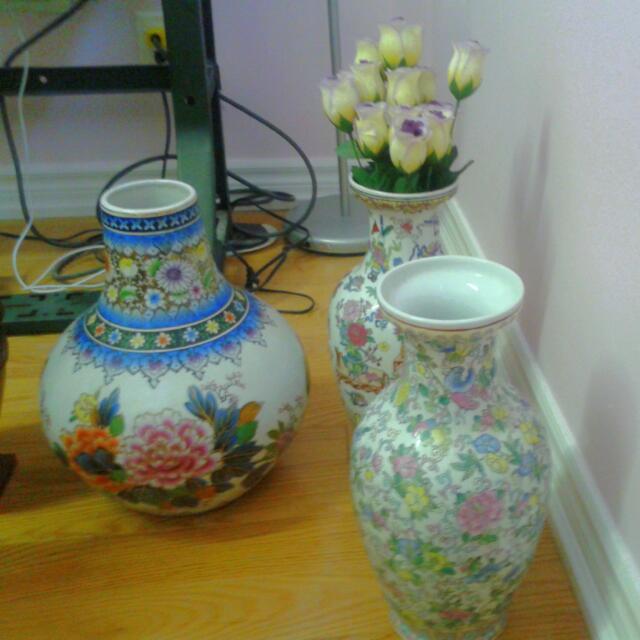 Set Of Antique Vases And Flower Pots.