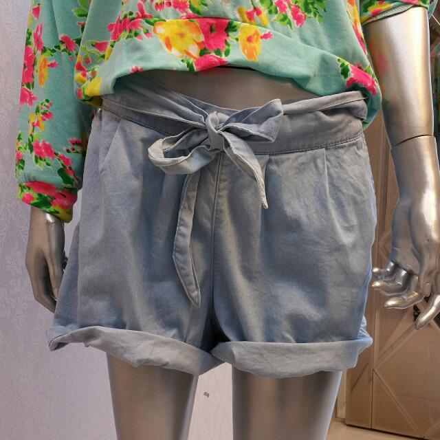 彈性牛仔短褲(任何size、肉肉女可穿)