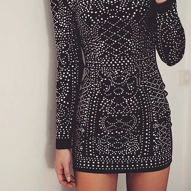 Studded, black, high neck dress SIZE 6-8 (balmain & kylie jenner inspired)
