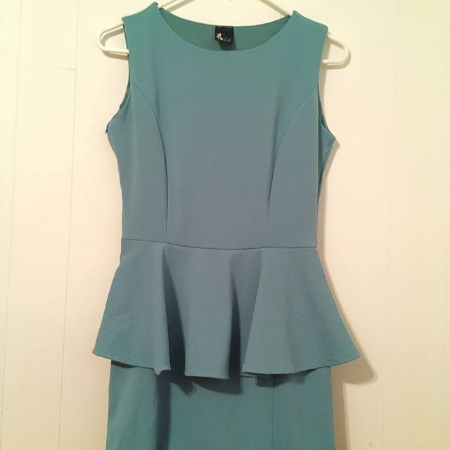 Teal Blue Peplum Dress 👗