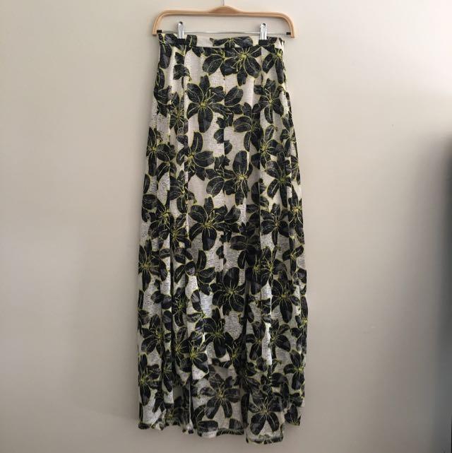 Top Shop Midi Hi Low Printed Split Front Skirt AU 8