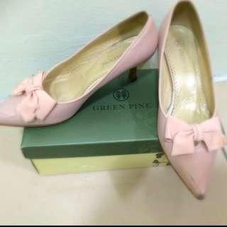 Green Pine 粉紅色蝴蝶結低跟鞋