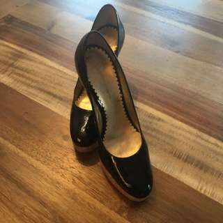 Jessica Simpson Size 8 Patent Leather Heels with cork platform.