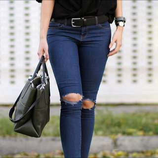 F21 knee rip darkwash jeans (stretchy)