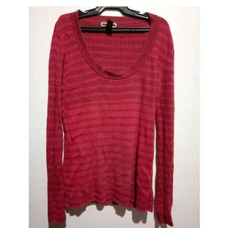 Original Mango Red Striped Sweatshirt