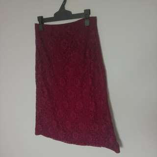 Burgundy Floral Lace Skirt