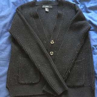 Black F21 Knitted Cardigan
