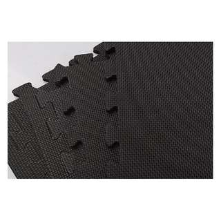 4 Tiles EVA Fitness Home Yoga Gym Interlocking Floor Puzzle Mat - Black