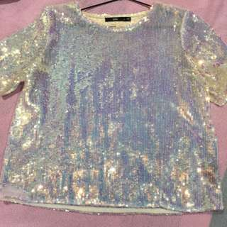 Sequined Holographic Tee