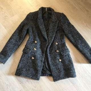 正韓灰色厚毛料長版大衣