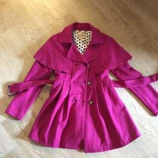 桃紅色厚毛料毛呢大衣