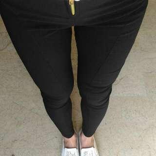 修身拉鍊黑色長褲,修身有彈性