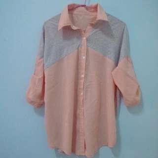 粉色棉質襯衫
