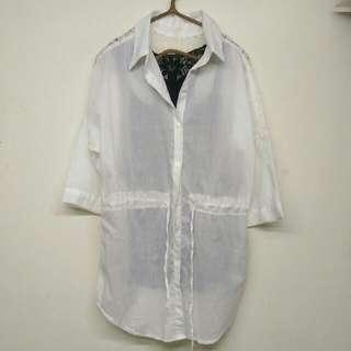 後背縷空蕾絲抽繩白襯衫