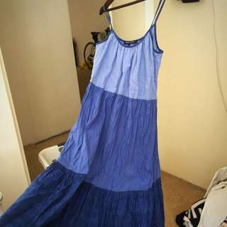 French Connection Tiered Blue Dress Size 8