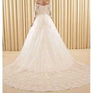 Custom Made Off The Shoulder Wedding Dress - Royal/ Monarch Train - 3/4 Sleeves Korean Style - RSM003