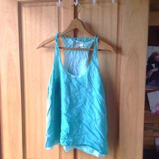 Two Tone 100% Silk Green Forever New Top