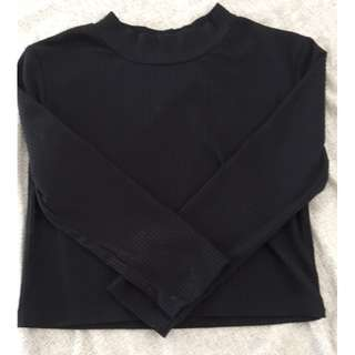 Black, Turtle Neck Crop Top from Universal Store