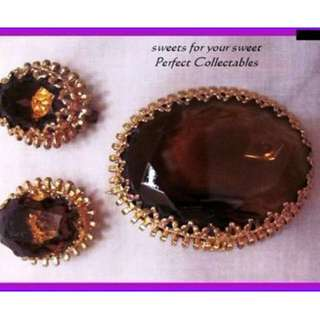Western German Root beer Stone Gold Bezel Brooch Demi Parure collected used cond... Beautiful ......1940s+ clip e/rings
