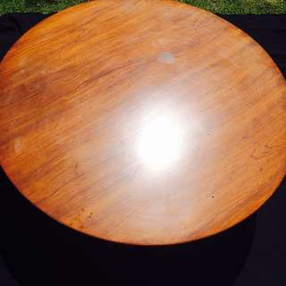 Polished Solid Wood Round Coffee Table