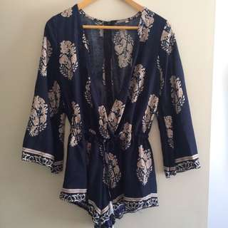 Brand New Navy Feather Playsuit