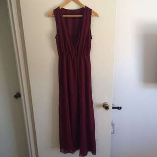 Maroon Chiffon Maxi Dress