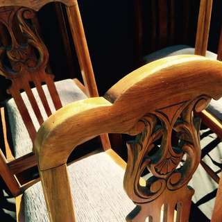 6 Wooden Carved Dining Chairs