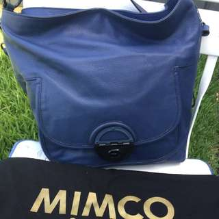 Mimco Amazonian Bucket Bag (navy Blue Leather Tote)