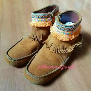 100% Suede Leather Custom Made Ethnic Aztec Ankle Boots With Fringe