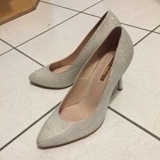 Gracegift尖頭閃亮細高跟鞋37