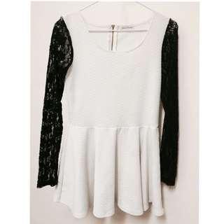 # 黑X白鏤空雕花蕾絲袖連身裙
