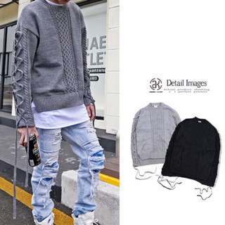 寬鬆菱形 編織袖 編帶毛衣 男圓領套頭 長袖 羊毛 造型款 毛衣