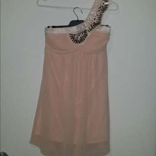 One Shoulder Dusky Pink Dress Size 8