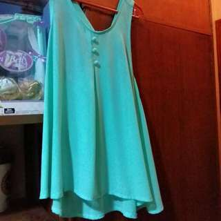 Teal Blouse With Ribboned Back