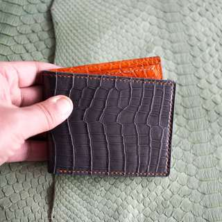 HEIMDALLR Crocodile Bifold wallet Gray x orange
