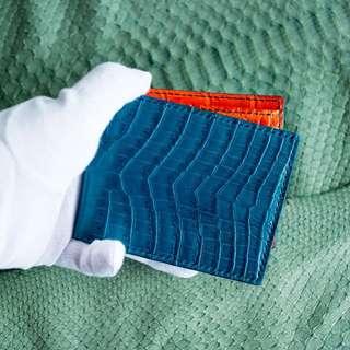 HEIMDALLR Crocodile Bifold wallet cobalt blue x orange