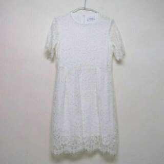 (全新)睫毛蕾絲水溶蕾絲白色洋裝連衣裙 Zara/forever 21/h&m/air space/grace gift
