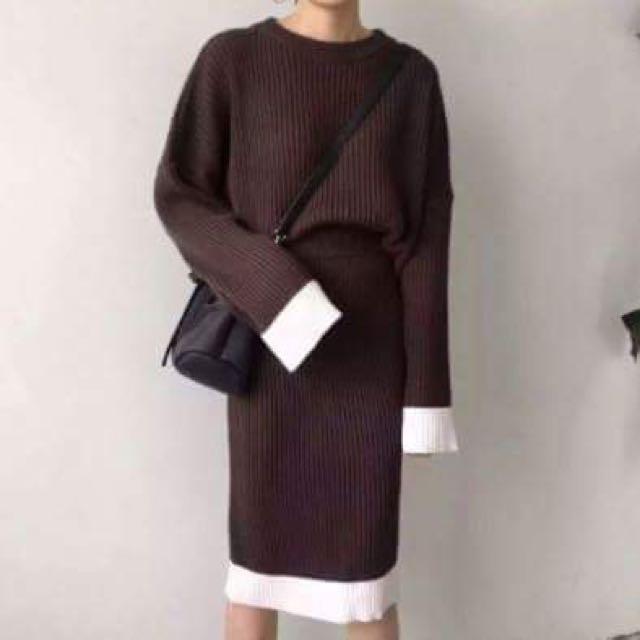 韓版寬鬆毛衣+半身裙套裝(兩件式)
