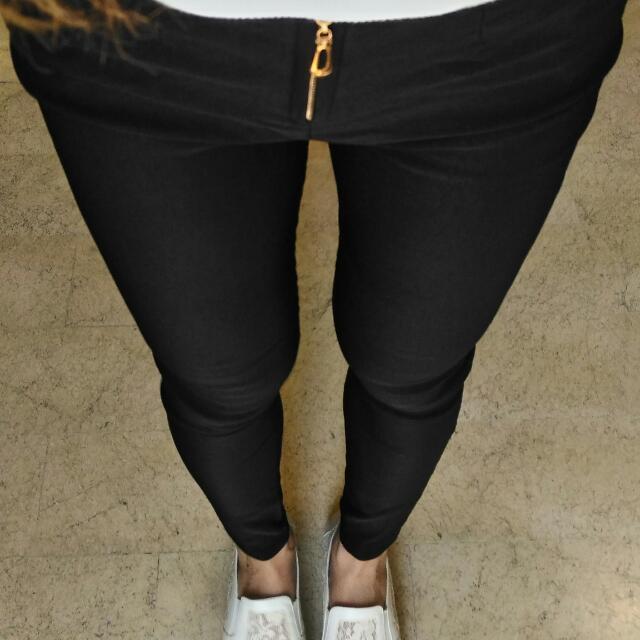 黑色彈力修身拉鍊褲頭長褲