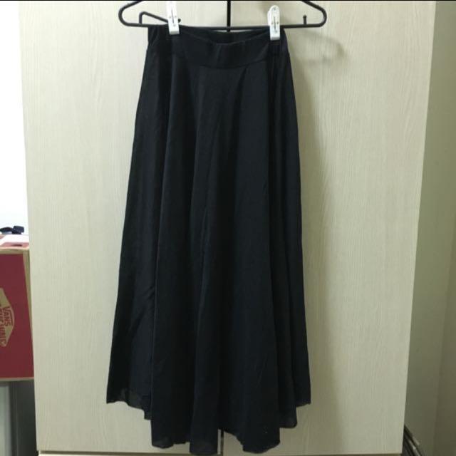 💖棉質傘狀黑長裙