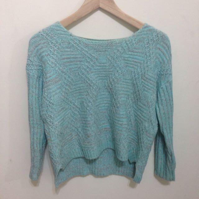 湖水綠格紋毛衣