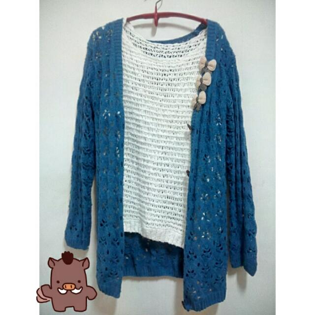 藍色針織長外套