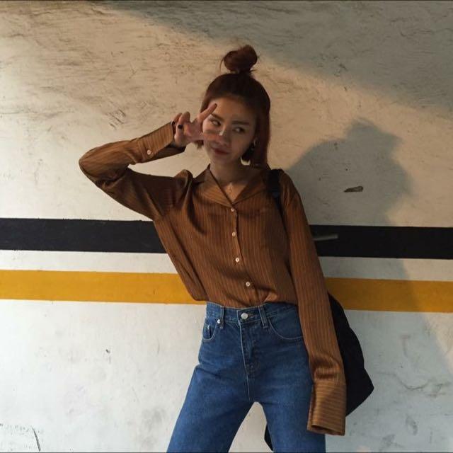 緞面細條紋襯衫 棕色